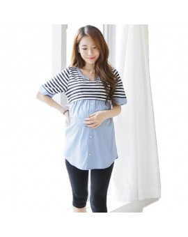 Summer Maternity Blouses Shirt Striped Nursing Top Blouse Shirts Breastfeeding Pragnancy Clothes For Pregnant Women Feeding TP09