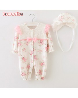 2015 Newborn Princess Style Baby Girl Clothes Kids Birthday Dress Girls Lace Rompers+Hats Baby Clothing Sets Infant Jumpsuit