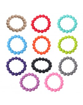 1pcs Baby Silicone Gel Teething Beads Bracelet Infant Stretchable Teether Ring Chew Toy Random Color