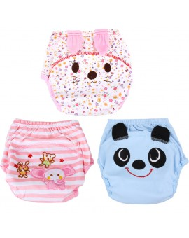 Baby Breathable Soft Cotton Diaper Pants Infants Reusable Cartoon Animal Nappy