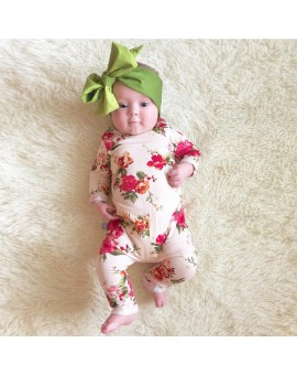 0-18M Newborn Romper Baby Girls Cotton Floral Jumpsuit Infant Flower Print Outfits Clothes