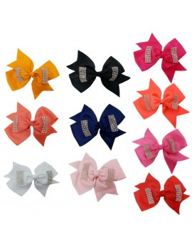 10pcs Girls Hair Clips Child Bowknot Headwear Crystal Hairpins Baby Girls Princess Party Hair Accessories