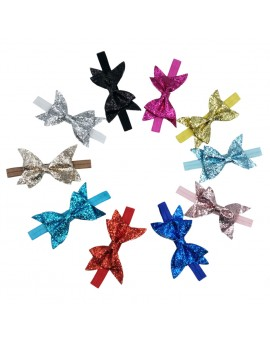 10pcs/set Baby Headband Infant Kids Glitter Bowknot Stretchable Headwear Child Hairdressing Accessories
