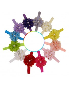 12pcs Elastic Baby Girls Flower Bead Dot Printed Headbands Children Floral Headwear Hair Dressing Accessories