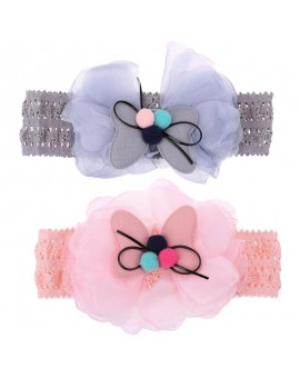 1pcs Cute Color Ball Hair Bow Girls Hairbands Kawaii Gauze Bowknot Headband Baby Girls Hair Accessories