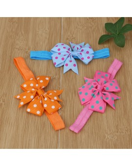 20pcs Elastic Baby Girls Dot Printed Bowknot Headband Kids Turban Hair Accessories Children Headwear