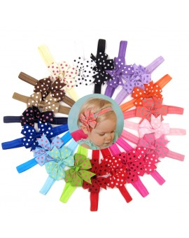 20pcs Elastic Baby Girls Dot Printed Bowknot Headband Kids Turban Hair Accessories Children Headwear