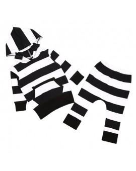 2pcs Baby Clothes Set Baby Unisex Black White Stripe Long Sleeve Hoodies Tops+ Pants Oufits Boys Girls Cotton Clothing