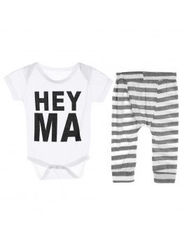 2pcs Baby Kids Casual Clothes Toddlers Short Sleeve Letter Print Tops + Stripe Pants Outift