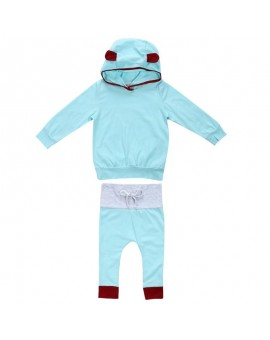 2pcs Baby Unisex Fashion Clothing Set Infant Boys Girls Clothes Cotton Hooded Tops + Pants Outfits