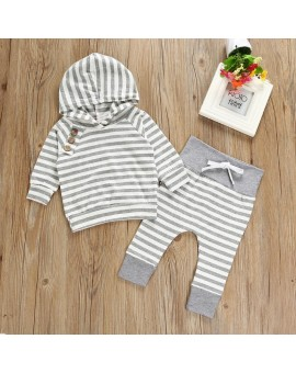 2pcs Clothes Set Infant Baby Boys Girls Long Sleeve Striped Hoodies Tops + Pants Outfits Newborn Cotton Blend X-mas Clothing