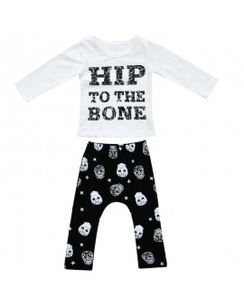 2pcs Kids Clothes Set Infant Boys Girls Cotton Letter Print Long Sleeve T-shirt+Skull Heads Patterns Harem Pants Outfits