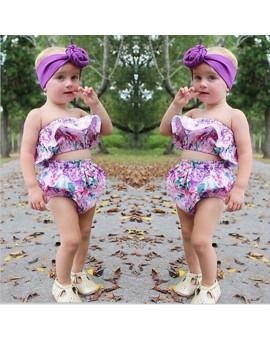 2pcs Newborn Fashion Clothes Infant Baby Girls Outfits Floral Print Off Shoulder Tops+Short Pants Clothes Set