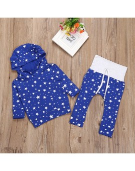 2pcs Newborn Fashion Clothing Set Baby Infant Blue Star Print Cotton Hoodie Tops +Trousers Outfits Boys Girls Clothing Set