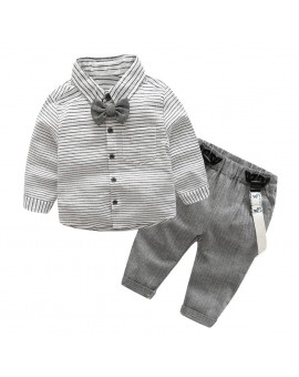 2pcs Toddler Kids Clothing Set Baby Boys Gentlemen Bowknot Shirt + Suspender Pants Outfit Boys Fashion Clothes