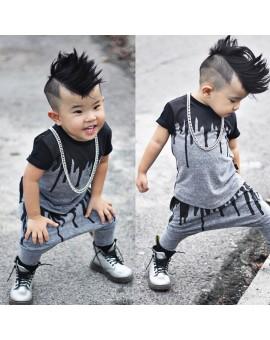 2pcs/set Baby Boys Fashion Clothes Toddler Kids Short Sleeve T-shirt Tops Harem Pants Outfit