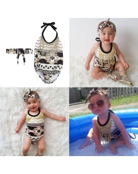 2pcs/set Baby Girls Bodysuit Infant Sleeveless Sunsuit Jumpsuit with Headband Kids Summer Fashion Outfit
