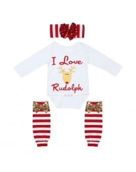 3pcs Girls Christmas Clothes Set Baby Long Sleeve Bodystuit + Knee Pad + Headband Outfits Kids Fashion Clothing