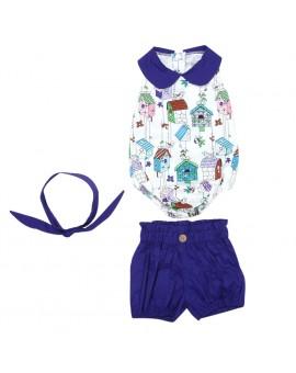 3pcs Newborn Baby Girls Clothes Set Infant Cartoon Sleeveless Rompers+Short Pants+Headband Outfits Kids Fashion Clothing
