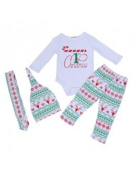 4pcs Baby Casual Clothes Set Boys Girls Christmas Long Sleeve Jumpsuit + Elk Print Pants + Hat + Headband Outfits Kids Clothing