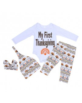 4pcs/set Infant Fashion Outfits Newborn Baby Boys Girls Cotton Clothing Thanksgiving Boutique Outfits Kids Clothes