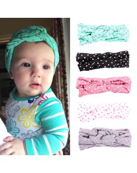 5PCS Baby Girl Cotton Twisted Headband Kid Turban Dot Knot Headwear Children's Hair Accessories