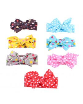 7pcs/set Fashion Baby Girl Dot Knot Headband Newborn Infant Hair Accessories Children Elastic Hair Bands