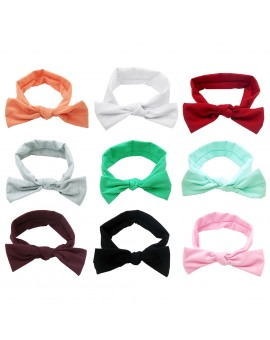 9pcs Cute Baby Girls Bowknot Headbands Child Bows Solid Color Headwear Hair Accessories