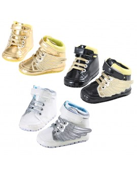 Artificial PU Baby Boys Girls Shoes Newborn Wings Design Soft Sole Crib Shoes Infant Fashion Sports Sneakers