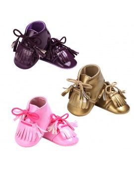Baby Boy Girl Moccasins Shoes Newborn PU First Walker Infant Soft Sole Tassel Prewalkers