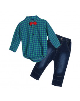 Baby Boys Gentlemen Bowknot Plaid Shirt Rompers Pants Outfit Toddler Kids Fashion Clothes Set