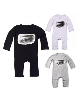 Baby Eye Print Romper Infant Clothes Toddler Kids Cotton Cartoon Long Sleeve Jumpsuit
