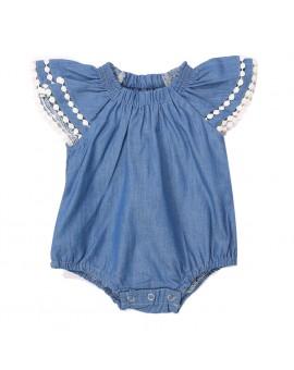 Baby Girls Denim Bodysuit Infant Toddler Sleeveless Jumpsuit 2017 New Kids Summer Fashion Clothing