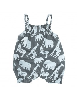 Baby Girls Fashion Loose Romper Toddler Kids Sleeveless Sunspenders Animal Print Jumpsuit Outfit Infant Clothes