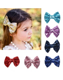 Baby Girls Fashion Sequins Paillette Bowknot Hair Clip Hair Decor Clamp