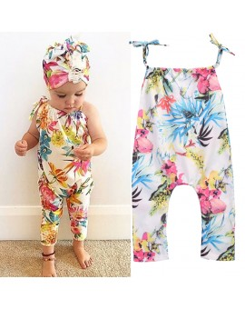 Baby Girls Floral Printed Romper Summer Fashion Modal Fabric Jumpsuit Playsuit Kids Suspenders Clothes