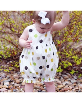 Baby Girls Romper Summer Sleeveless Polka Dot Printed Jumpsuit Girls Casual Clothes Outfits