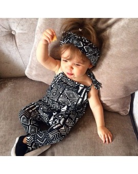 Baby Girls Sleeveless Printed Shoulder Strap Rompers Summer Fashion Kids Jumpsuit