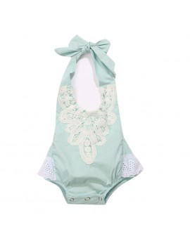 Baby Girls Straps Halter Bodysuit Infant Toddlers Sleeveless Lace Jumpsuit Backless Sunsuit