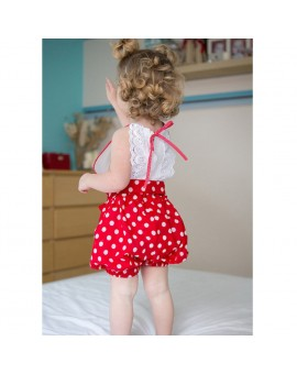 Baby Girls Summer Polka Dot Sleeveless Rompers Fashion Ruffled Toddler Kids Jumpsuits
