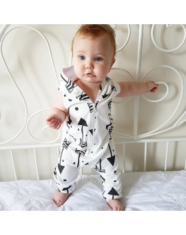 Baby Infant Toddlers Sleeveless Hooded Rompers 2017 New Boys Girls Arrow Jumpsuit Sunsuit Clothes