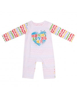 Baby Infants Kids Daddy Mommy Letter Print Rompers Long Sleeve Striped Jumpsuit