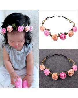 Baby Kids Beautiful Rose Flower Headband Girls Stretchable Hairband Hair Accessories Head Wrap