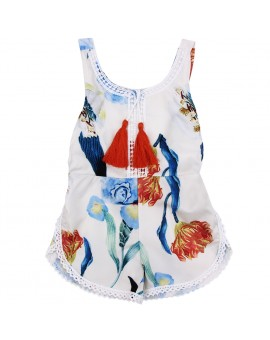 Baby Kids Children Sleeveless Floral Rompers Jumpsuit Summer Flower Backless Sunsuit Outfits for 0-4Y