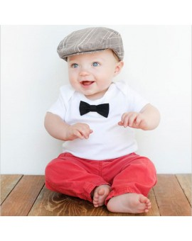 Baby Kids Fashion Clothing Boys Tie Short Sleeve T-shirt Tops + Pants Trousers Outfit Children Clothes