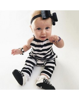 Baby Kids Girls Black White Striped Sleeveless Cotton Soft Romper Infant Toddler Kids Halter Jumpsuit Girls Fashion Clothes