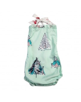 Baby Kids Girls Cartoon Christmas Tree Printed Bodysuit Children Sleeveless Backless Jumpsuit