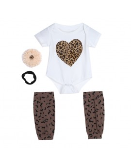 Baby Kids Leopard Heart Print Rompers + Corsage + Headband + Socks Outfit Infant Fashion Clothes