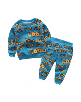 Baby Kids Long Sleeve Sports Outfit Letter Print Tops + Pants Set Toddlers Cool Sports Suit