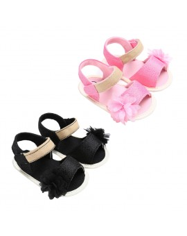 Baby Summer Sandals Girls Soft Sole Princess Floral Flat Shoes Children Canvas Flower Shoes